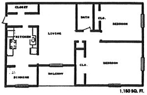 One BR Floor Plan 1