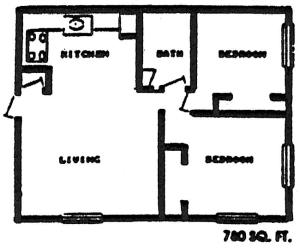 One BR Floor Plan 3